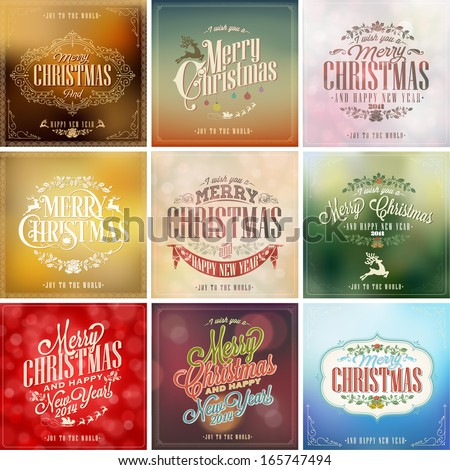 Set Of Vintage Christmas Light Vector Background With Typography, Card Or Invitation - stock vector