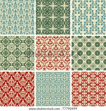 Set of vintage christmas wallpapers - stock vector