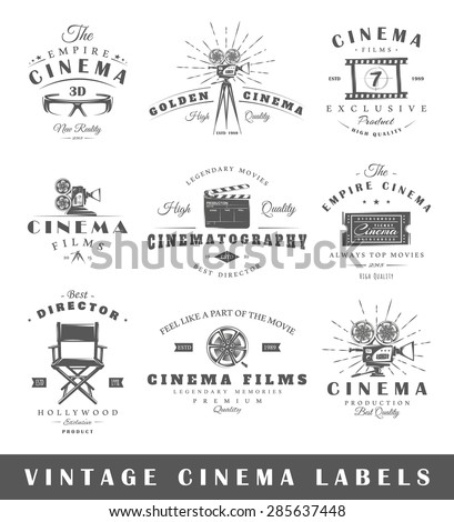 Set of vintage cinema labels. Posters, stamps, banners and design elements. Vector illustration - stock vector