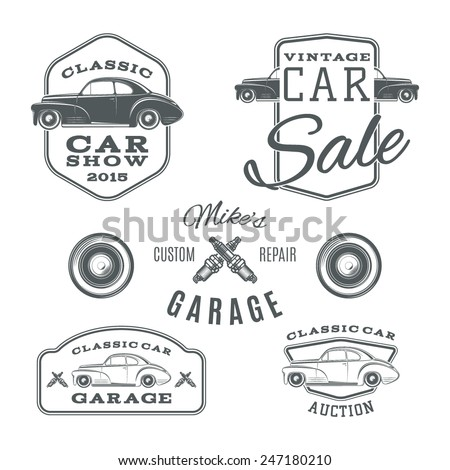 Set of vintage, classic car services labels isolated on white background. Car logo. Vintage car badge. Vector illustration. - stock vector