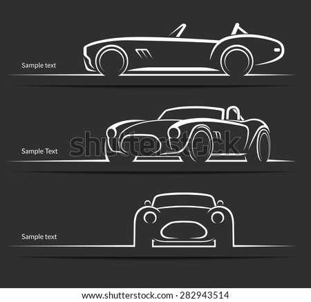 Set of vintage classic sports car silhouettes, outlines, contours  isolated on dark background. Vector illustration - stock vector