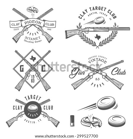 Set of vintage clay target and gun club labels, emblems and design elements - stock vector