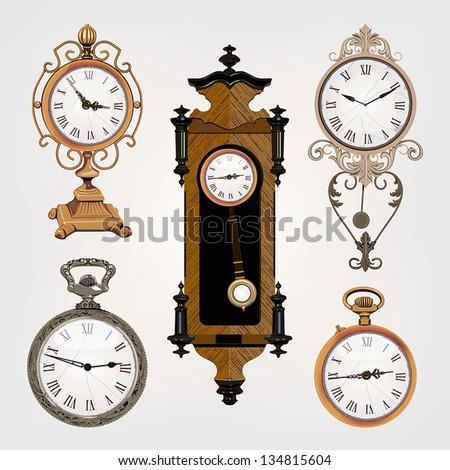set of vintage clocks - stock vector
