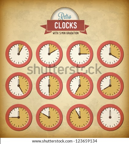 Set of vintage clocks with 5 minutes gradation - stock vector