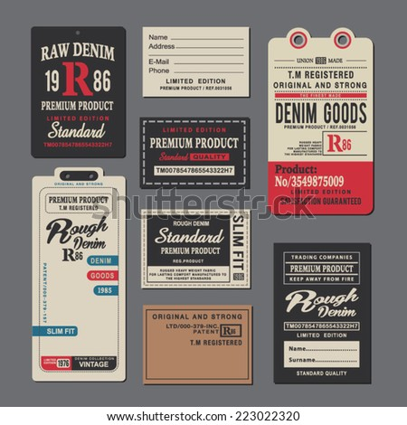 Set of vintage clothing tags and retro labels - stock vector