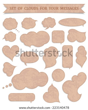 Set of vintage clouds and bubbles of communication. A vector illustration on a white background. Pure empty speech bubbles for yours conversation business. - stock vector