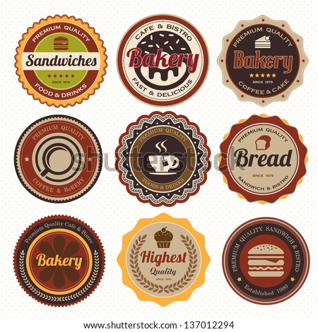 Set of vintage coffee and bakery badges and labels. - stock vector