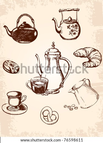 set of vintage coffee and tea icons - stock vector