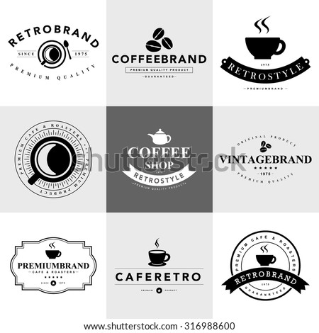 Set of vintage coffee badges and labels.vector eps10 - stock vector