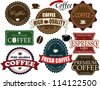 Set of vintage coffee labels and elements on white, vector illustration - stock vector