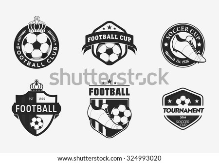 Set of vintage color football soccer championship logos and team badges - stock vector