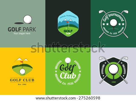 Set of vintage color golf championship logos and badges - stock vector
