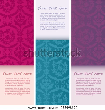 Set of vintage colorful flower and birds damask pattern vertical banners with space for text - stock vector