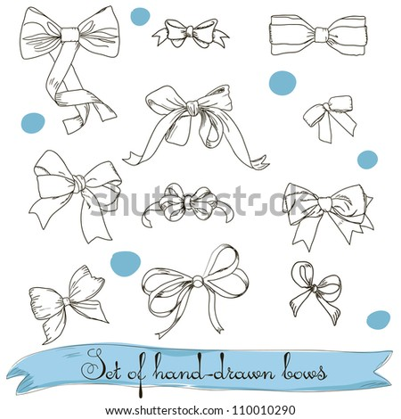 set of vintage colorless bows. Vector illustration EPS8 - stock vector