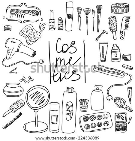 set vintage cosmetics elements beauty products stock