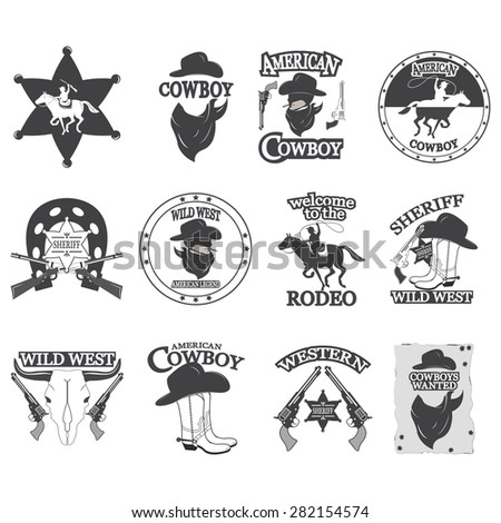 Set of vintage cowboy emblems, labels, badges, logos and designed elements. Wild West theme - stock vector