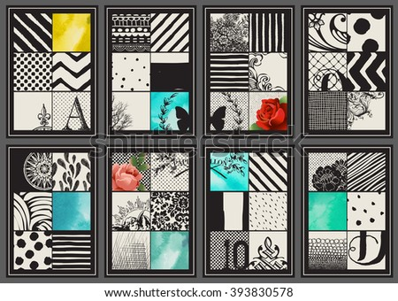 Set of Vintage Creative Cards - Hand drawn collages and textures made with ink and watercolor. Abstract retro patterns