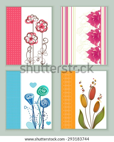 Set of Vintage Creative Cards with Hand Drawn Hipster Flowers. Retro patterns for banner, poster, placard, flyer, design template - stock vector