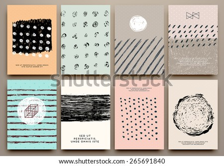 Set of Vintage Creative Cards with Hand Drawn Hipster Textures Made with Ink. Retro Patterns for Placards, Posters, Flyers and Banner Designs. - stock vector