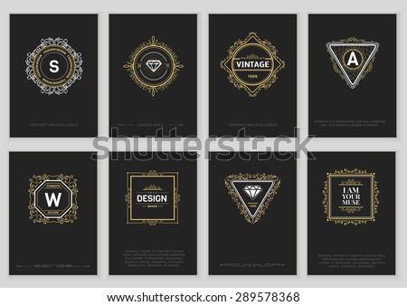 Set of Vintage Creative Cards with Hand Drawn Hipster Textures. Retro patterns for banner, poster, placard, flyer, design template - stock vector