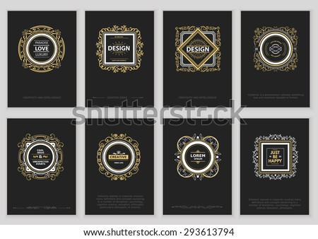Set of Vintage Creative Cards with Hand Drawn Hipster Textures. Retro patterns for card, poster, placard, flyer, design template - stock vector