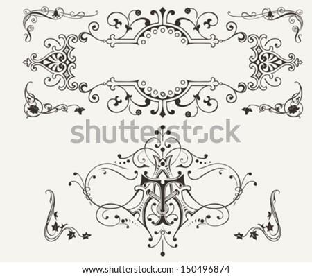 Set Of Vintage Curves Design Elements - stock vector