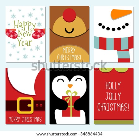 set of 6 Vintage Cute Christmas cards with calligraphy and Winter Holiday Elements. Greeting hand drawn illustration for Xmas. Reindeer, snowman, penguin, Santa, mittens, elf. - stock vector