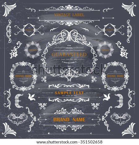 Set of Vintage Decorations Elements.Flourishes Calligraphic Ornaments and Frames with place for your text.Retro Style Design Collection for Invitations,Banners,Posters, Badges,Logotypes and so on - stock vector