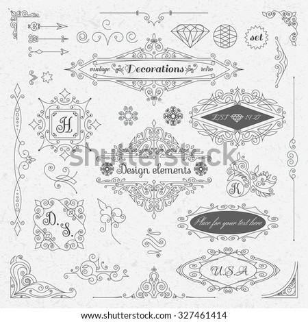 Set of Vintage Decorations Elements. Flourishes Calligraphic Ornaments and retro Style Design Collection. Antique frames. Hipster style. vector illustration.  - stock vector