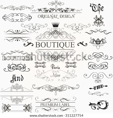 Set of vintage decorations elements flourishes calligraphic ornaments borders and frames retro style - stock vector
