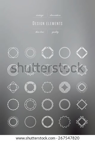Set of Vintage Decorations Elements, thin line - stock vector