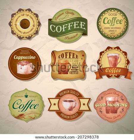 Set of vintage decorative coffee labels
