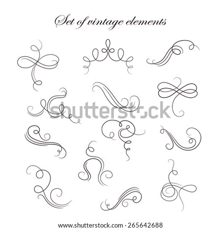 Set  of vintage decorative elements for design frameworks and banners. Can use for birthday card, wedding invitations. - stock vector