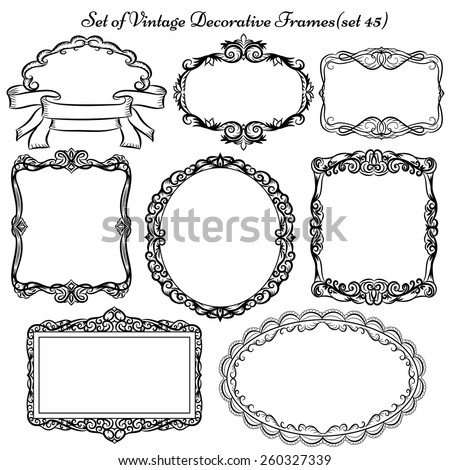 Set Vintage Decorative Frames Borders Stock Vector 260327339 ...