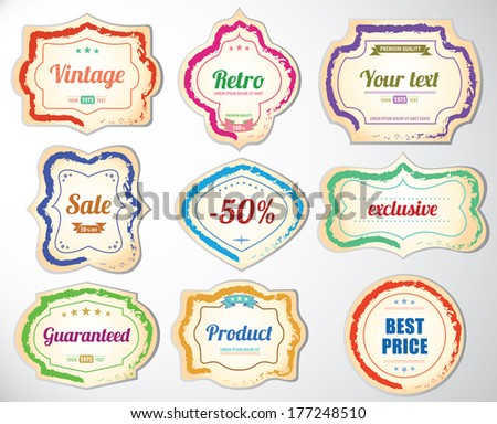 Set of vintage decorative labels and Vintage universal stickers - Flat design - stock vector