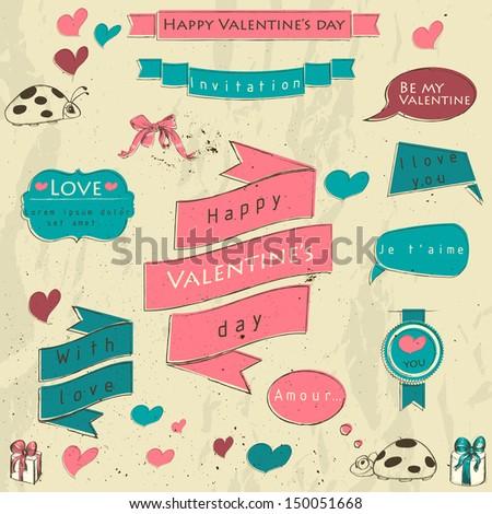 Set of vintage deign elements about love. Vector illustration EPS8 - stock vector