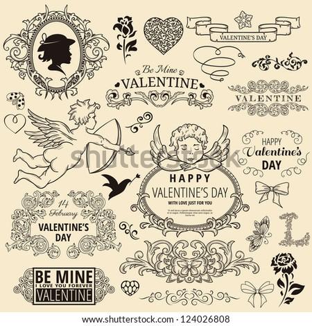 Set of vintage design element for Happy Valentine's day - stock vector