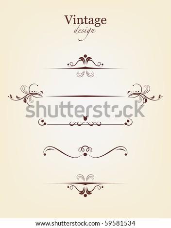 Set of vintage design elements - stock vector