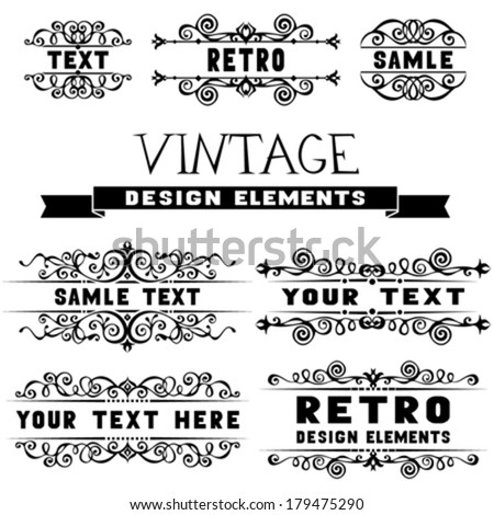 Set of vintage design elements and page decorations. Retro vector black calligraphic design elements isolated on white background - stock vector
