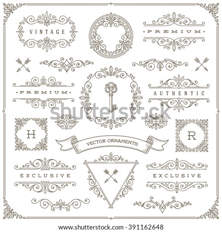 Set of vintage design elements - flourishes and ornamental frames, border, dividers, banners and other heraldic elements for logo, emblem, greeting, invitation, page design, identity design, and etc. - stock vector