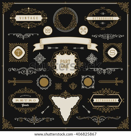Set of vintage design elements - flourishes and ornamental frames, border, dividers, banners and other heraldic elements for logo, emblem, heraldry, greeting, invitation, page design, identity design.