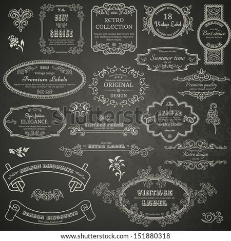 Set of vintage design elements on blackboard - stock vector