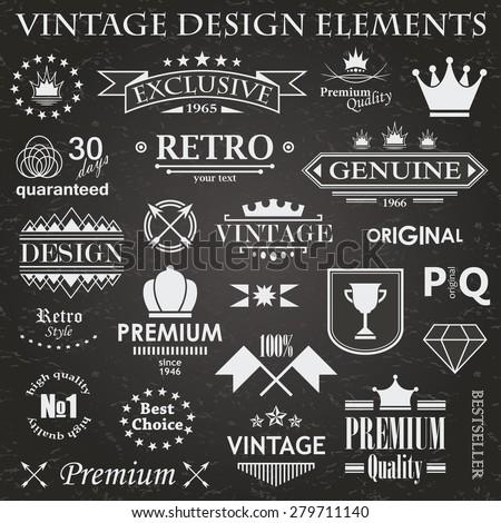 Set of vintage design elements. Retro style. Grunge effect     - stock vector