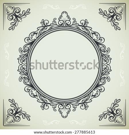 set of vintage design elements round frame and decorative corners