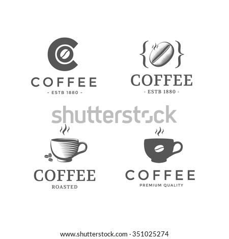 Set of vintage design of logos and icons for coffee. Vector template - stock vector