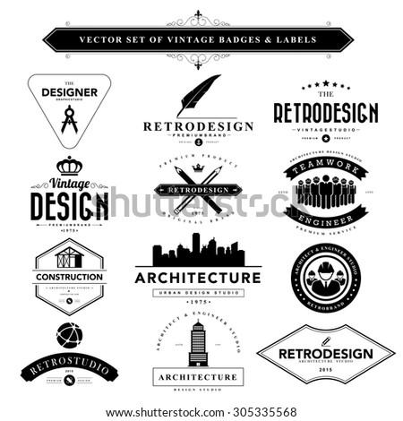 Set of vintage  designer badges and labels - stock vector