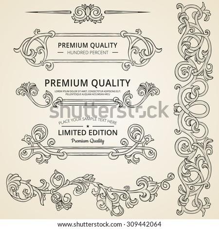 Set of vintage detailed ornate elements on beige background. - stock vector