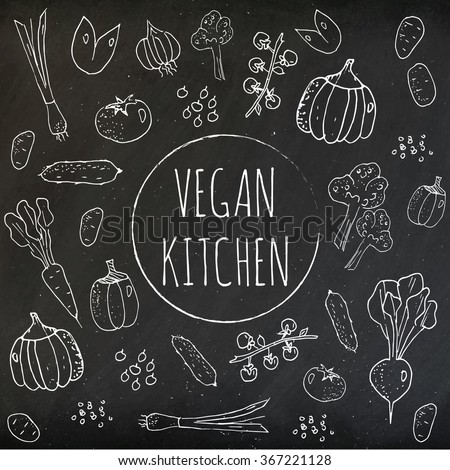 Set of vintage doodles, hand drawn rough simple sketches on chalkboard of different kinds of vegetables. Vector freehand illustration isolated on green background.  - stock vector