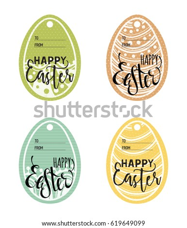Set vintage easter gift tags happy stock vector 619649099 set of vintage easter gift tags happy easter lettering caption zentangle holiday design for negle Choice Image