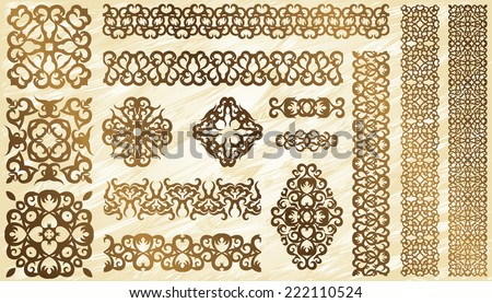 Set of vintage elements and borders for decoration        - stock vector